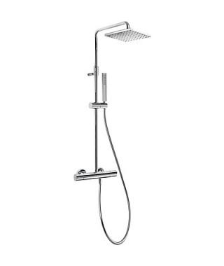 Zestaw prysznicowy TRES Class-Tres termostatyczny. ramię kwadratowe. chrom