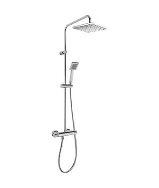Zestaw prysznicowy TRES Flat-Tres termostatyczny. ramię kwadratowe. chrom