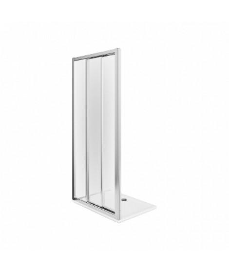 Drzwi przesuwne 3-elementowe KOŁO FIRST 90 Szkło hartowane satyna - profile srebrne połysk