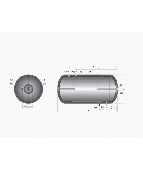 Wymiennik emaliowany C.W.U. dwupłaszczowy ELEKTROMET WGJ-g DPU 140L w poliuretanie