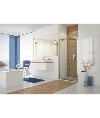 Drzwi prysznicowe 80x190cm SANPLAST DJ/TX5b. profil srebrny błyszczący. wzór szyby W15