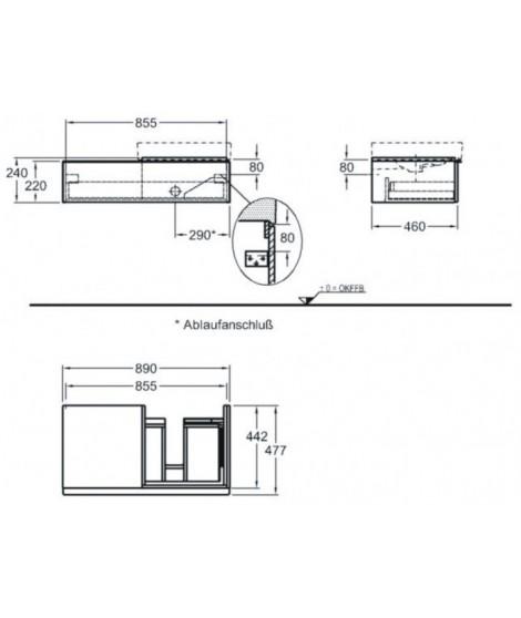 Szafka podumywalkowa wisząca KERAMAG iCON prawa 89cm, platynowy połysk