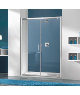 Drzwi prysznicowe 100x190cm SANPLAST DD/TX5b. profil srebrny błyszczący. wzór szyby W15
