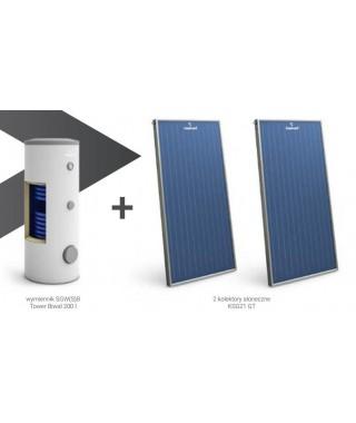 Zestaw solarny GALMET wymiennik SGW(S)B Tower Biwal 400 l (szary) + 4 kolektory słoneczne KSG21 GT