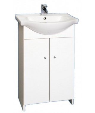 Zestaw szafka DEFTRANS POLA D50 bez cokołu, biały + umywalka