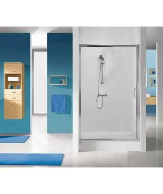 Drzwi prysznicowe 120x190cm SANPLAST D2/TX5b. profil srebrny błyszczący. wzór szyby Grey