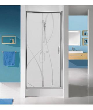 Drzwi prysznicowe 100x190cm SANPLAST D2/TX5b. profil biały ew. wzór szyby W15