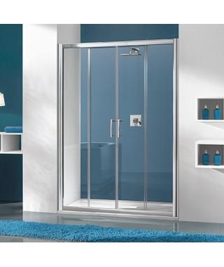 Drzwi prysznicowe 150x190cm SANPLAST D4/TX5b. profil srebrny matowy. wzór szyby Grey