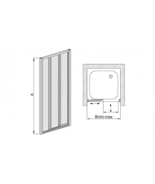 Drzwi prysznicowe 110-120x185cm SANPLAST DTr-c. profil biały ew. wzór szyby W5