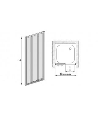 Drzwi prysznicowe 70-80x185cm SANPLAST DTr-c. profil biały ew. wzór szyby Pearl