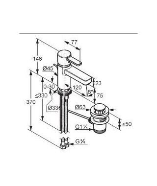 Bateria umywalkowa KLUDI ZENTA XL z korkiem automatycznym biały/chrom