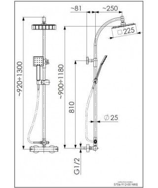 KFA ARMATURA NIKE Deszczownia + bateria termostatyczna 5706-912-00