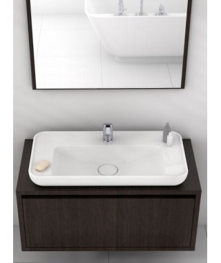 Umywalka prostokątna nablatowa / wpuszczana 80 cm CERASTYLE LAL