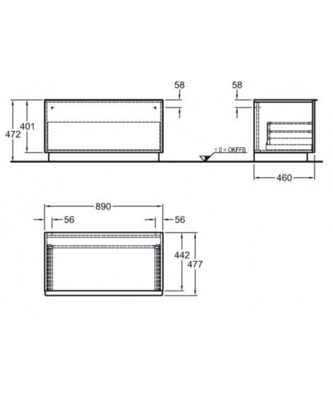 Szafka stojąca boczna pozioma KERAMAG iCON 89cm, platynowy połysk