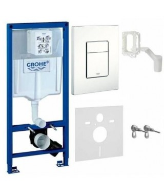 Stelaż WC Rapid SL GROHE z przyciskiem Skate Cosmopolitan biel alpejska i Grohe Fresh 5w1 38827000w