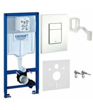 Stelaż WC Rapid SL GROHE z przyciskiem Skate Cosmopolitan biel alpejska i Grohe Fresh 5w1 39448000
