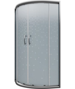 Kabina CERSANIT INEBA 80x80x167 profil chromowany, półokrągła, szkło mrożone kółka