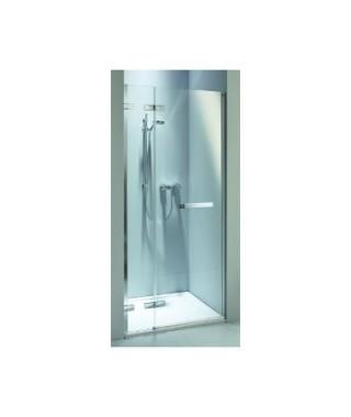 Drzwi wnękowe z relingiem KOŁO NEXT 80. lewostronne Szkło przezroczyste. profil srebrny połysk